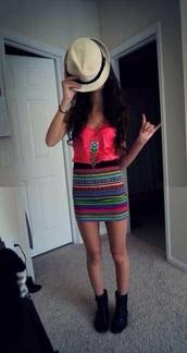 skirt,aztec,aztec print skirt,tribal pattern,tribal print skirt,striped skirt,dress,blouse,pink dress