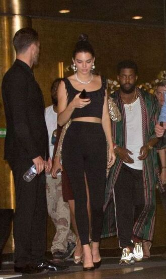pants top crop tops black black top kendall jenner pumps model off-duty cannes adidas leggings black leggings