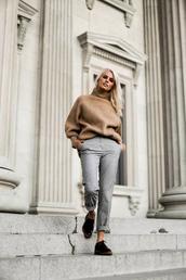 sweater,grey pants,tumblr,camel,camel sweater,turtleneck,turtleneck sweater,pants,shoes,fall outfits