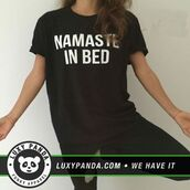 t-shirt,luxy panda,namaste,bedding,black,quote on it,shirt
