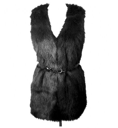 Woolly Black Faux Fur Vest