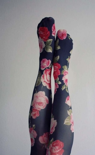 tights floral flowers blue pink girly roses romantic underwear tumblr pretty flower tights floral tights dress