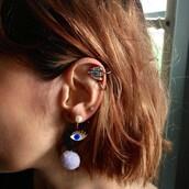 jewels,studs,earrings,stud earrings,dangle earrings,ear cuff,eyes,blue,diamonds,pastle