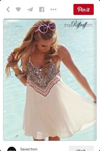 dress sundress tan cream tribal pattern print flowy summer cute