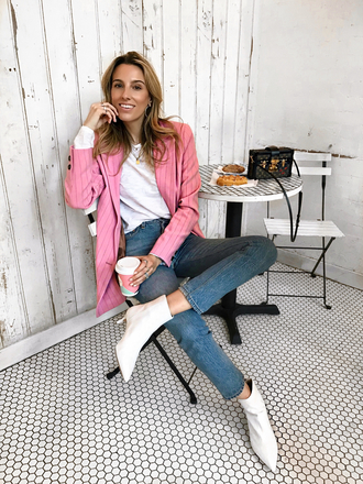 mindbodyswag blogger jacket top jeans shoes coat sunglasses bag ankle boots blazer pink jacket