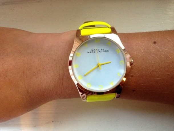 jewels watch watch marc jacobs yellow yellow watch jeans colored jeans