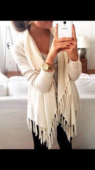 sweater cardigan white fashion fringes cute sweaters style cozy cardigan warm girly cream white jacket follow me babies good live horloge good style