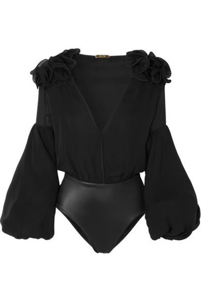 Johanna Ortiz bodysuit chiffon black silk underwear