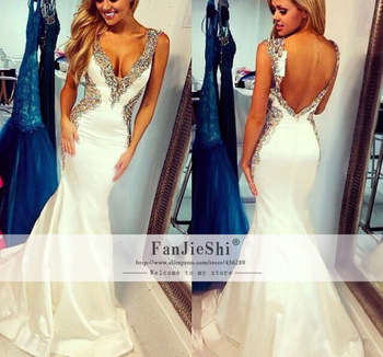 Aliexpress.com : Buy Custom Made Vestido De Festa Sexy V Neck Beading Floor Length Cap Sleeve Backless Mermaid Prom Dresses 2015 Free Shipping from Reliable Prom Dresses suppliers on Suzhou FanJieShi Wedding Dress Co., Ltd. | Alibaba Group