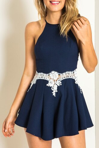 dress navy white cute girly summer fashion spring style halter neck feminine zaful romper girl girly wishlist blue dress blue romper beautiful halo blue summer outfits boho flowers lace shorts romper crochet skater trendy