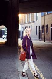 framboise fashion,jacket,t-shirt,pants,shoes,jewels,bag,blouse,purple,blazer