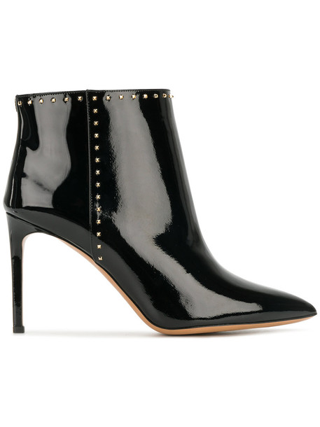 Valentino women boots leather black shoes