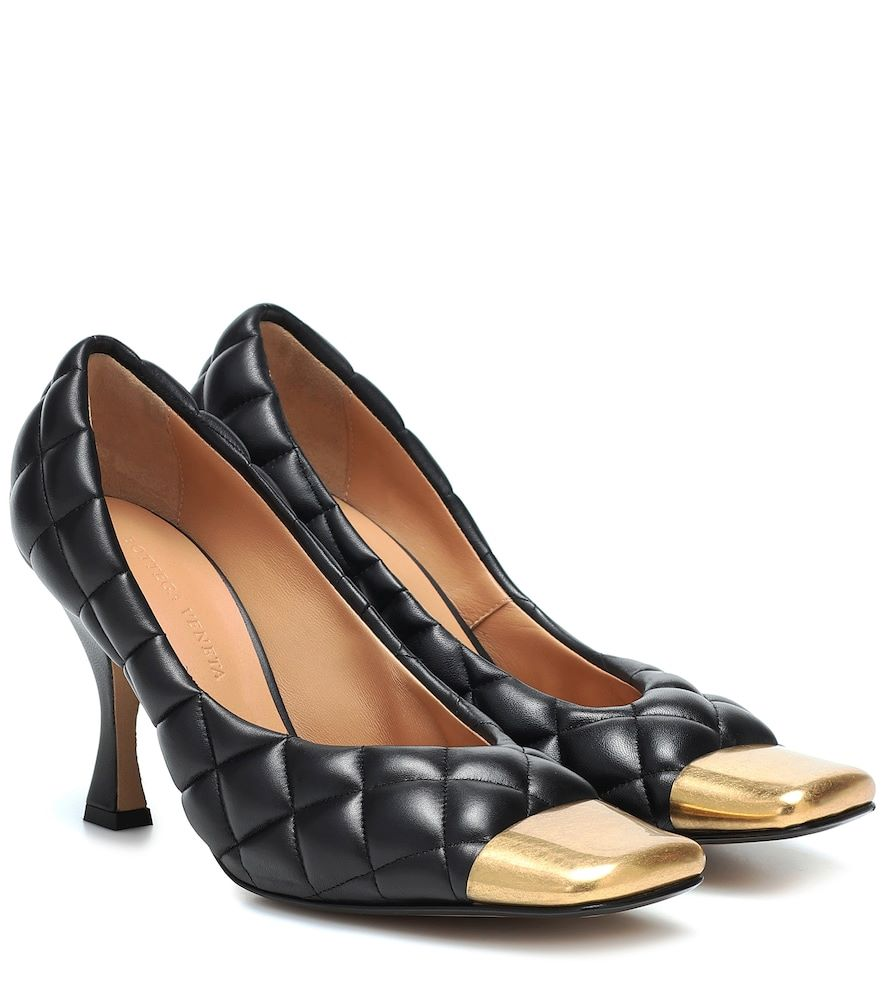 Quilted leather pumps