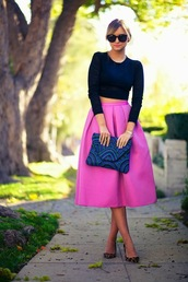 late afternoon,skirt,t-shirt,shoes,bag,sunglasses,jewels,shirt,midi skirt,fashion,long skirt,elegant,big skirt,full skirt,pink skirt classy girly,pink,hot pink,a-line,pink midi skirt,a line skirt