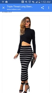 dress,clothes,two piece dress set,long sleeves,long sleeve dress,crop tops,black crop top,stripes,striped dress,striped skirt,midi dress,midi skirt,bodycon,bodycon dress,party dress,sexy party dresses,sexy,sexy dress,party outfits,sexy outfit,summer dress,summer outfits,spring dress,spring outfits,classy dress,elegant dress,cocktail dress,cute dress,girly dress,date outfit,birthday dress,clubwear,club dress,homecoming,homecoming dress,engagement party dress,wedding clothes,wedding guest,pool party,romantic dress