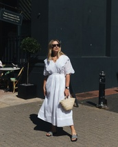 dress,midi dress,slide shoes,v neck dress,woven bag,sunglasses,white dress