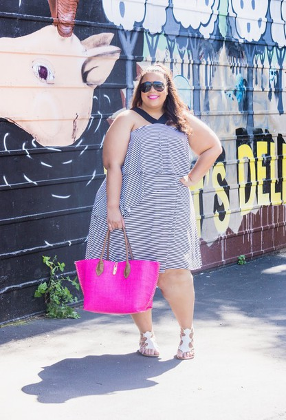 0d0e45efee5 garner style blogger dress bag plus size dress stripes striped dress curvy plus  size pink bag