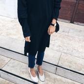 dress,dress over pants,black midi dress,midi dress,black dress,denim,jeans,blue jeans,white shoes