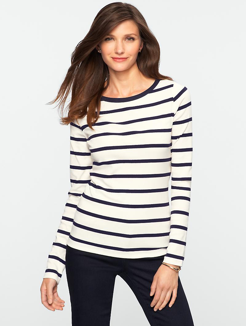 Talbots - Weekend Cotton Graphic Stripes Tee