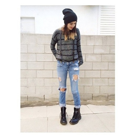 DrMartens sweater suspenders destroyed jeans winter sweater sweater weather sweather weather grey grey sweater grey sweayshirt beanie black beanie