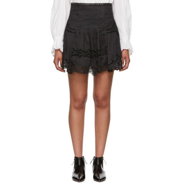 Isabel Marant Black Ramie Marion Miniskirt