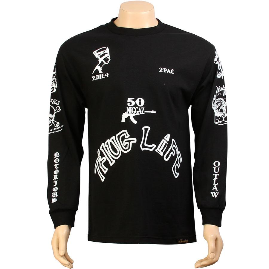 sneaktip thug life tattoo long sleeve tee black apparel