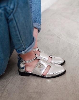 shoes sandals silver sandals flat sandals silver low heel sandals metallic shoes