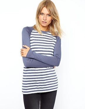 ASOS | ASOS Baseball Top in Washed Stripe at ASOS
