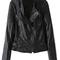 Black long sleeve zipper pu leather jacket   pariscoming