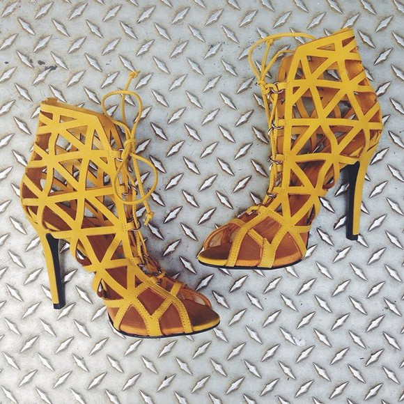 shoes cut-out yellow heels, high heels