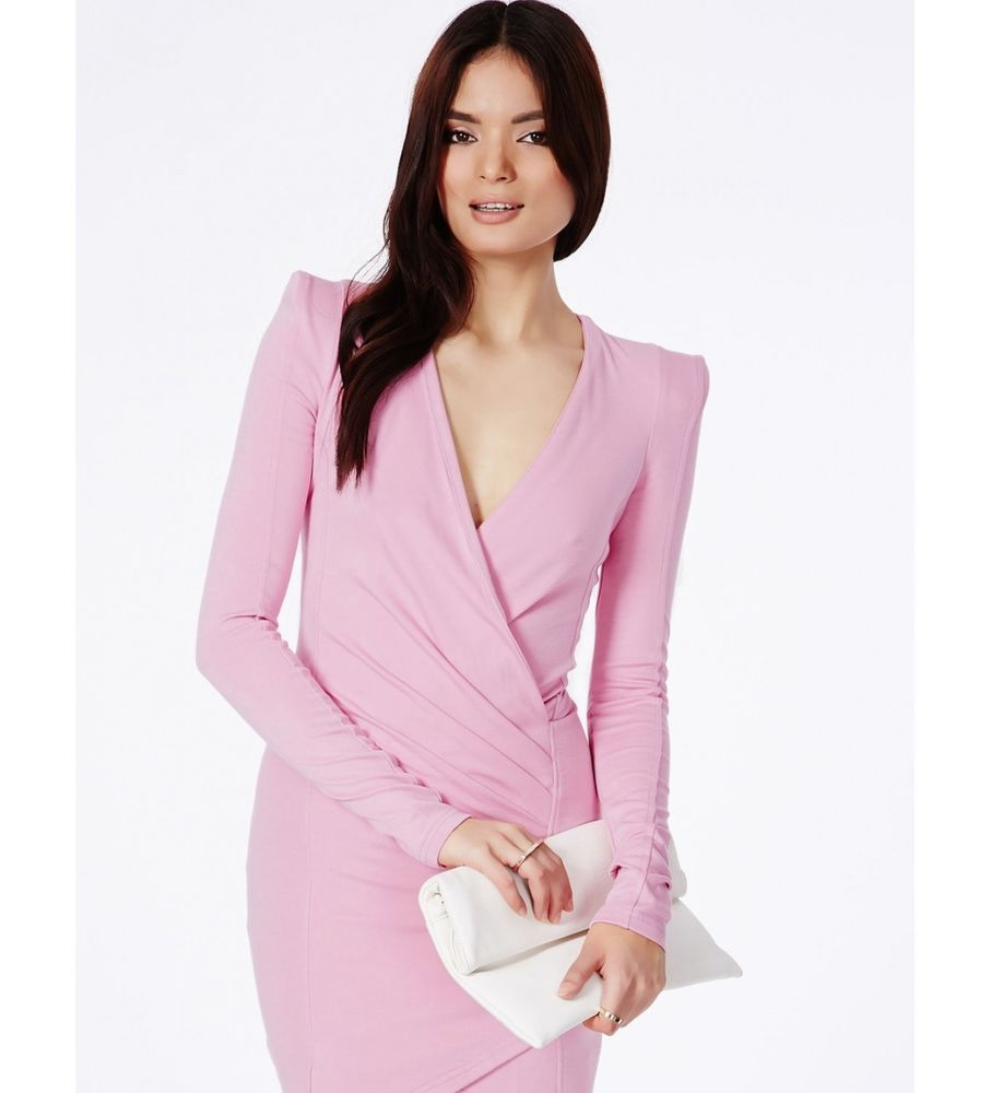 SMALL CROSS OVER PLUNGING V-NECK LIPSTICK PINK LONG SLEEVE BODY-CON WRAP DRESS