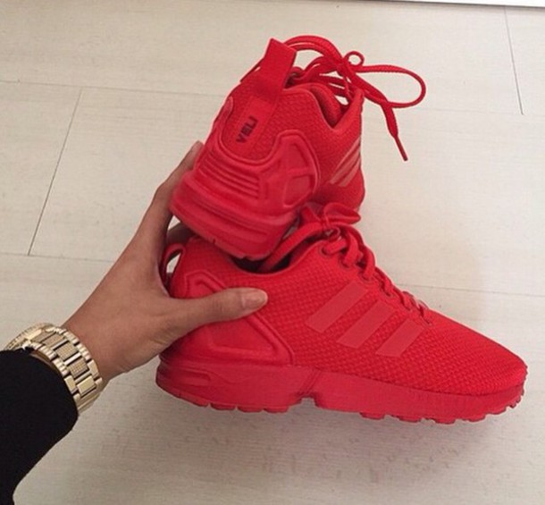 adidas red shoes. shoes red sneakers adidas nike swag cute urban
