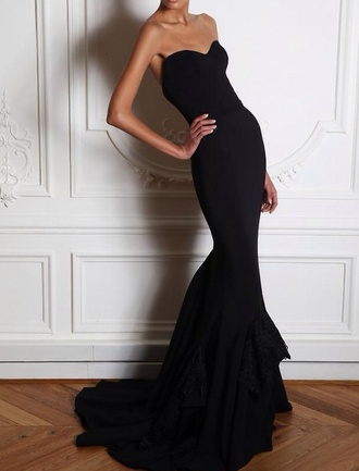 dress black black with slit strapless black slim maxi formal classy dress long little black dress bodycon dress sexy bustier dress