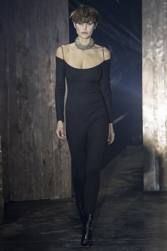 jumpsuit pants top off the shoulder ny fashion week 2017 fashion week 2017 alexander wang runway black necklace nyfw 2017