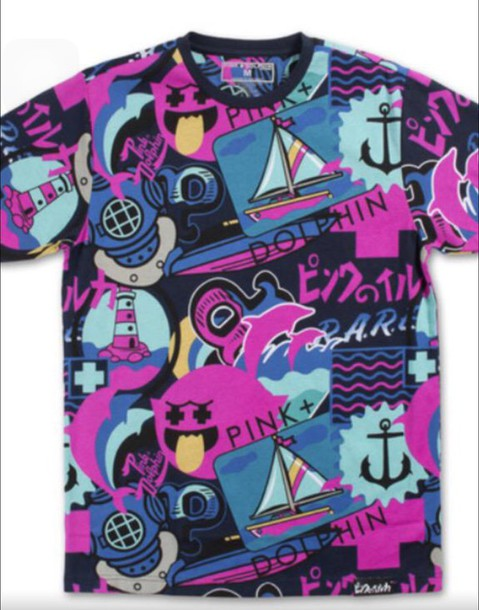 t-shirt pink dolphin