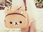bag,rilakkuma,brown,bear,purse,white,dress,kawaii,cute,lovely,teenagers,pastel,animal,girl,pink,kawaii bag,korean fashion,korean style,japanese,japanese fashion,japan