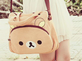 bag rilakkuma brown bear purse white dress kawaii cute lovely teenagers pastel animal girl pink kawaii bag korean fashion korean style japanese japanese fashion japan