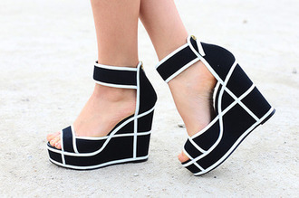 shoes wedges heels black and white black and white wedges black and white heels black and white ankle strap abstract wedges black wedges white wedges ankle strap wedges monochrome stripes high heels tumblr photo black heels casual black white shoes black wedges plaid pattern strappy heels