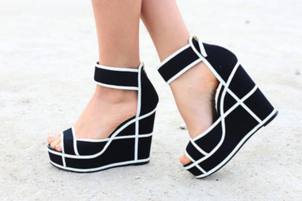 Shoes: wedges, heels, black and white, black and white wedges ...