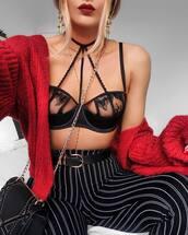 underwear,party lingerie,lingerie,lingerie set,sexy lingerie,bralette,caged bralette,bra,black bra,pants,necklace,jewels,earrings,accessories,jewelry