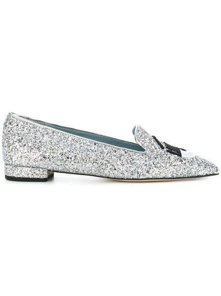Chiara Ferragni women leather grey metallic shoes