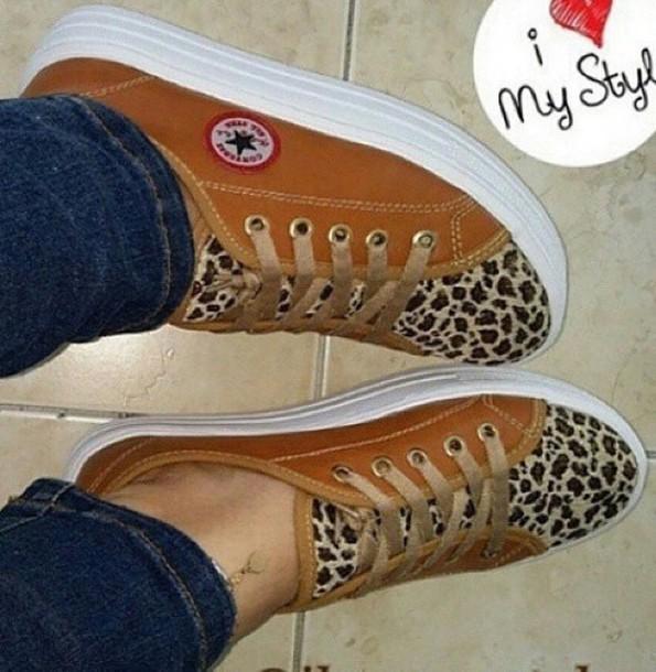 efe46016a1501e shoes converse leopard print low sneakers