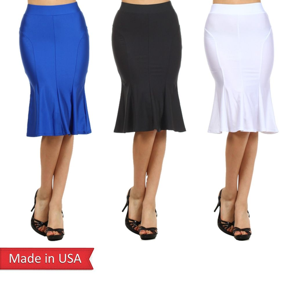 Women Fitted High Waist Frilled Hem Trumpet Mermaid Solid Color Pencil Skirt USA