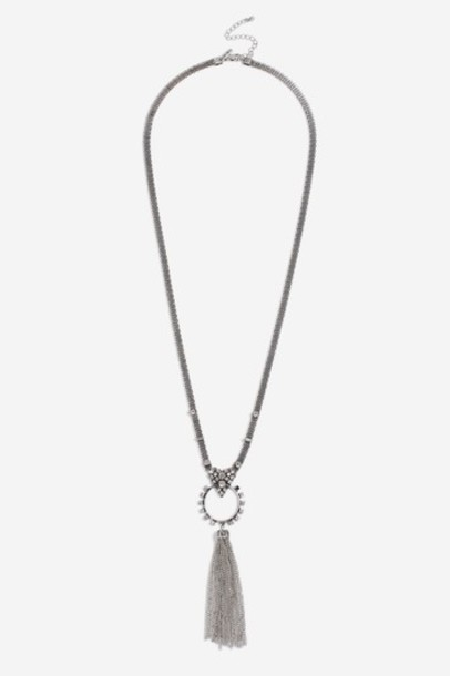 Topshop tassel clear necklace jewels