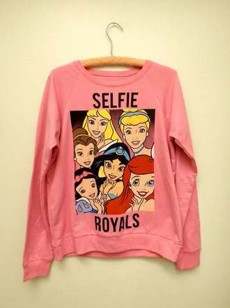selfie royals disney princess disney jasmine cinderella belle and the beast beauty and the beast the little mermaid sleeping beauty printed sweater sweater pink princess
