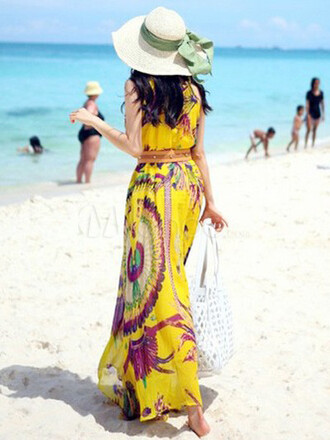 dress sundress feathers ethnic high heels waist belt beachy bohemian ethnic print