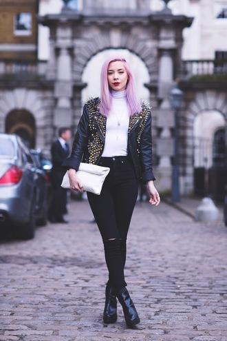leanne lim walker blogger spiked leather jacket black ripped jeans