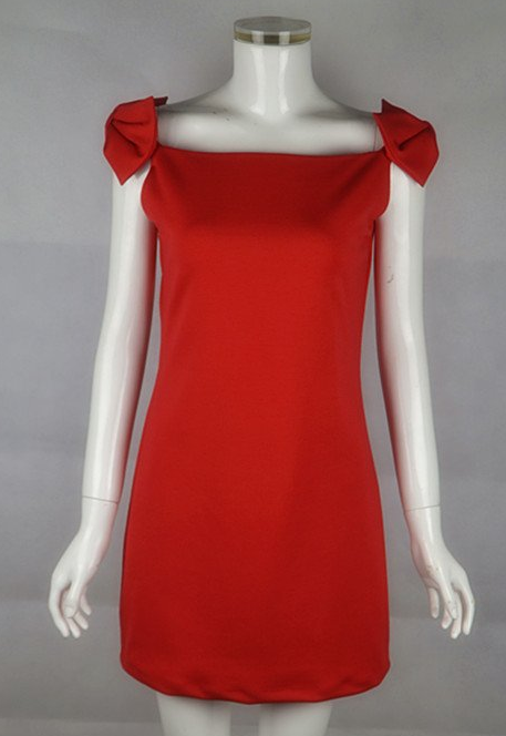 Red Bow Sheath Body-hugging Dress