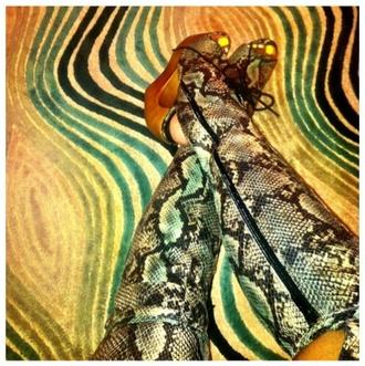 knee high boots open toed heels open toe heels wedges snake print snake skin wooden wedges jeffrey campbell
