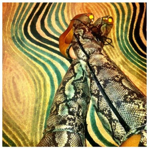 wedges wooden wedges knee high boots open toed heels open toe heels snake print snake skin jeffrey campbell